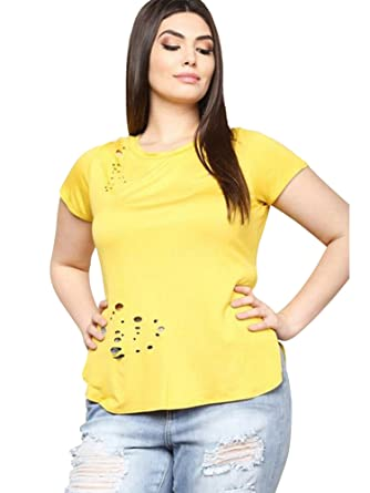 259ea0a8e5314 Luxury Divas Plus Size Distressed Tee with Holes at Amazon Women s Clothing  store
