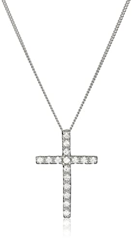 Sterling Silver and Swarovski Zirconia Cross Pendant Necklace, 18