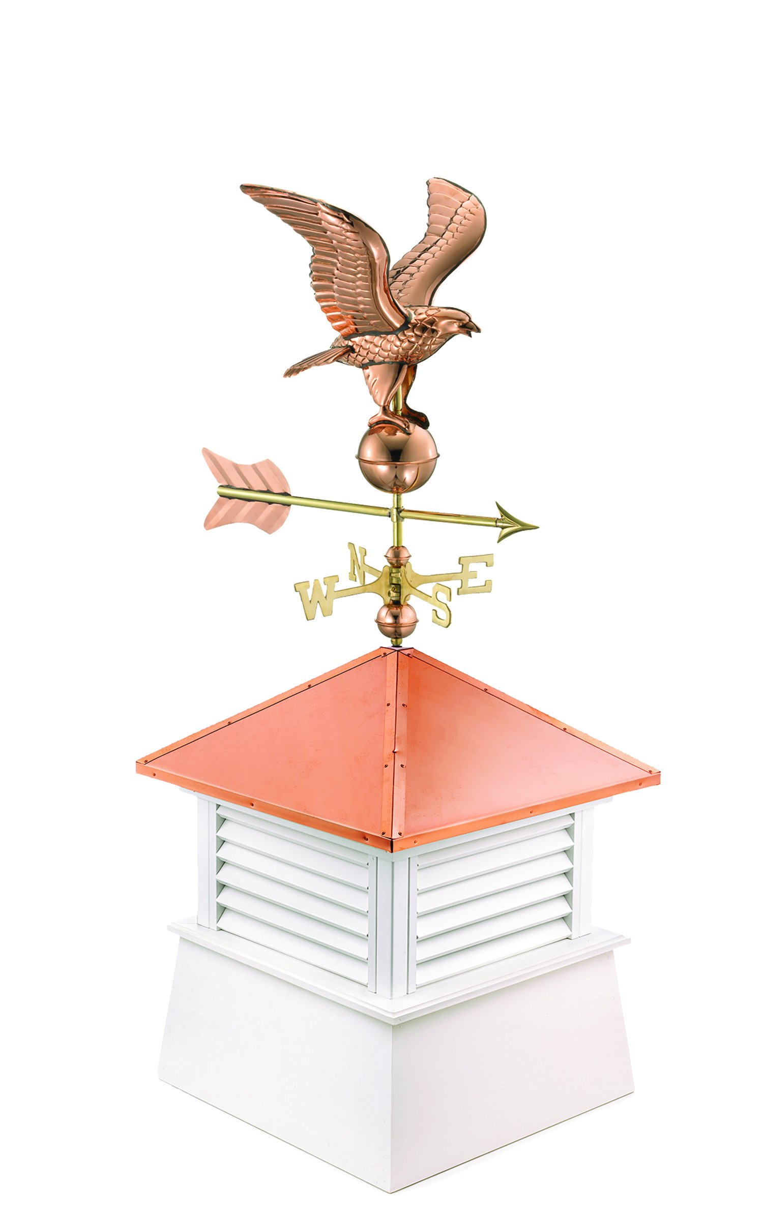 """Manchester Vinyl Cupola with Eagle Weathervane, Perfect Size for a Small Shed, 18"""" square x 46"""" high, Pure Copper Roof"""