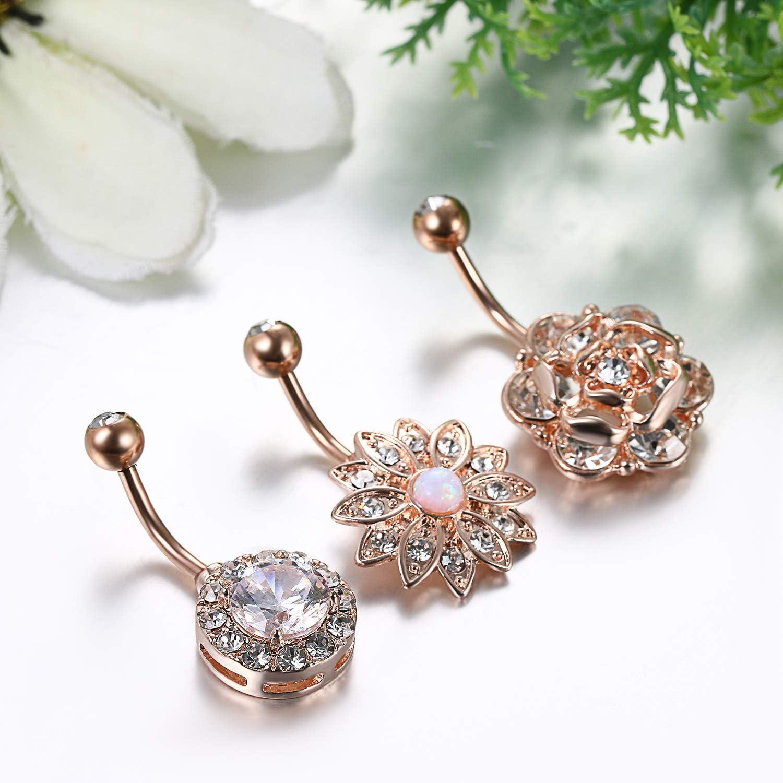 Womens Stainless Steel Flower Navel Ring,CZ Gem Flower Belly Button Ring for Women Girl Wedding Engagement Halloween Flongo Navel Ring