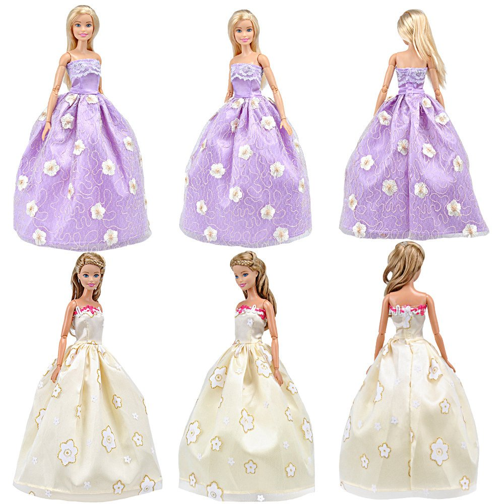 E-TING Lot 5pcs Fashion Gorgeous Princess Wedding Party Gown Dresses Clothes Outfit with Floral-print Voile all around for Girl Doll Xmas Gift