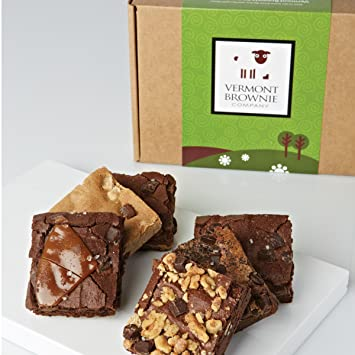Gourmet Brownie Sampler - 12 Full Size Brownies - Blue Gift Box