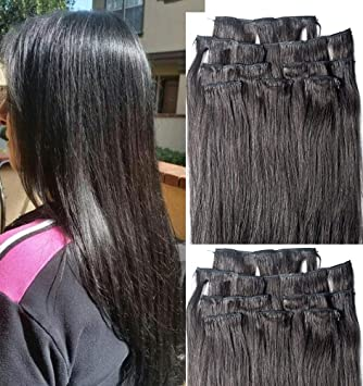"Hair Faux You 18"" Double Weft 100% Remy Human Hair Clip in Extensions Full"