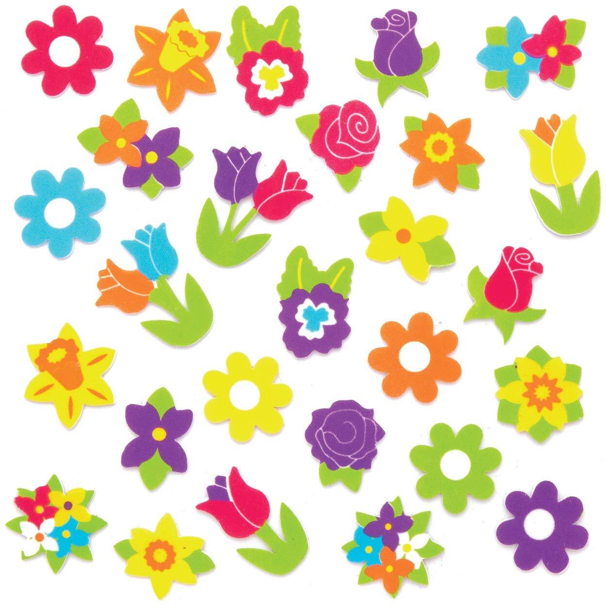 Baker Ross Pegatinas de Espuma Flores de Primavera para ni/ños paquete de 120