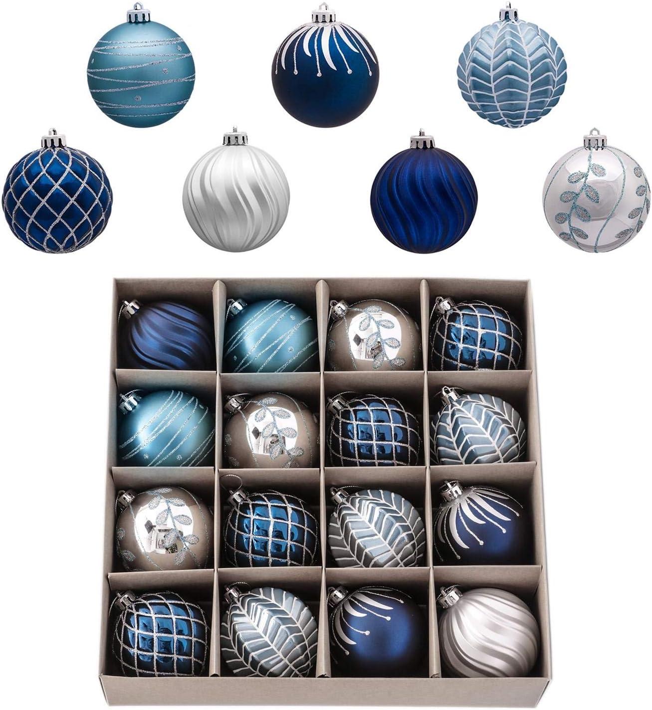 Adornos Navide/ños para Arbol Deseos de Invierno Valery Madelyn 16 Piezas Bolas de Navidad de 8cm Regalos de Colgantes de Navidad Decoraci/ón de Bolas de Navidad Inastillable Pl/ástico Azul y Plata