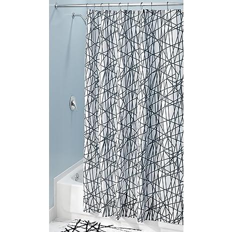 InterDesign Abstract Fabric Shower Curtain, 72u0026quot; X 84u0026quot;, ...