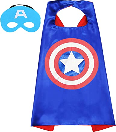 Captain America 4 Piece Set with Cape Mask Bracelet and a Free Sticker