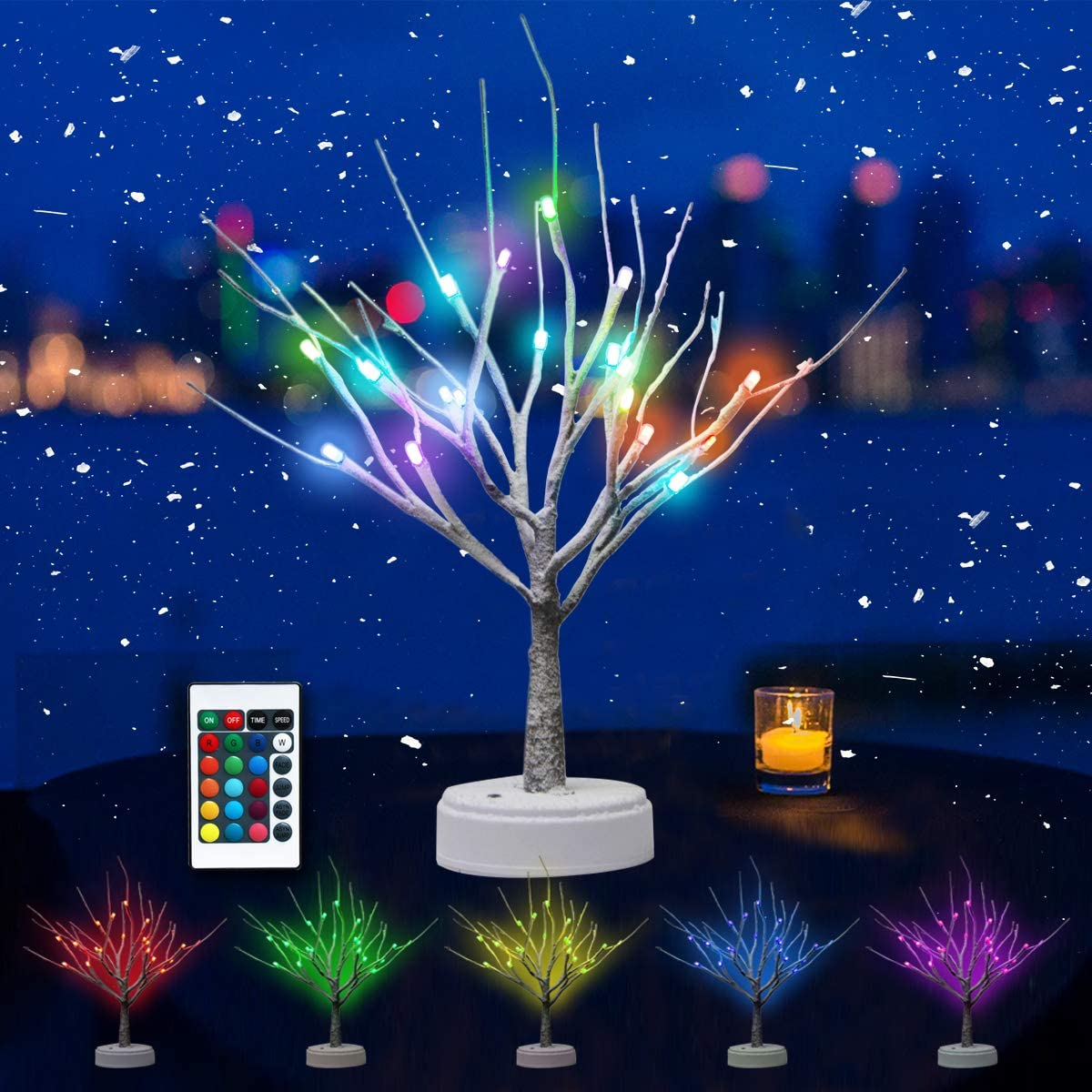 Oycbuzo 18 LED Color Changing Lighted Snow Tree Light-RGB with Remote Control, Light Up Christmas Tabletop Bonsai Tree Decorations, Holiday Decor Tree, Table Lamp for Room, Party, Wedding