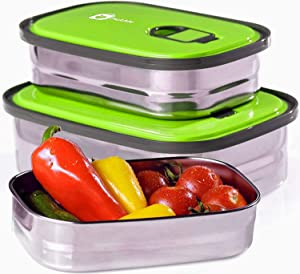 Monka Stainless Steel Lunch Box Food Container Storage Set 3 In 1. Leak Proof Metal Bento Lunch Box With Lids. Healthy Takeaway For Kids & Adults For Outdoor Meals. Green