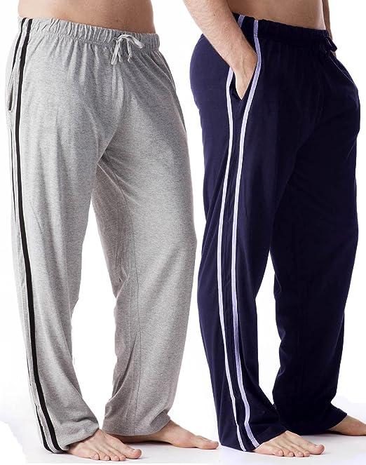 Octave - Hombre 2 pack gris/navy contrast pantalones de salón/pantalones de pijama [talla m, color gris & navy]: Amazon.es: Ropa y accesorios