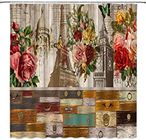 Jingjinji Floral Wooden Shower Curtain Peony Watercolor Flower Vintage Butterfly Rural Classical Eiffel Tower Theme Bathroom Decor Curtains Polyester Fabric Waterproof with Hook 70 x 70 Inch Brown