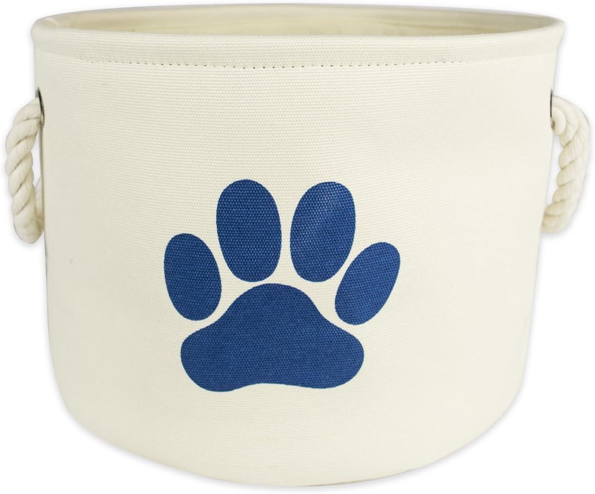 "Bone Dry Paw Print Collapsible Polyester Pet Storage Bin, Round Medium - 15 x 15 x 12"", Paw Print Off-White"
