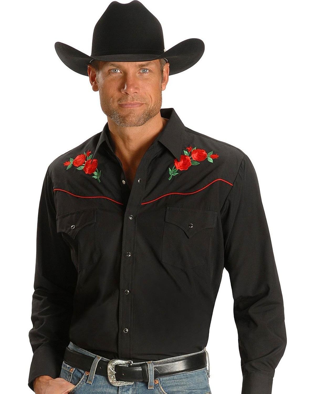 ELY CATTLEMAN Men's Embroidered Rose Design Western Shirt Black XX-Large