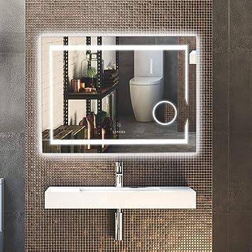 LUVODI Miroir Salle Bain 80x60 cm avec Éclairage Intégré Miroir ...