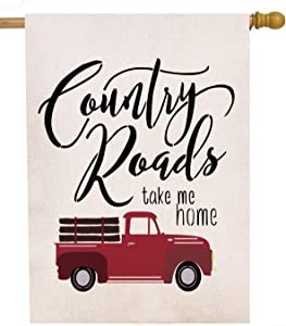 Artofy Country Roads Red Truck Large 28 x 40 House Flag Double Sided, Home Decorative Burlap Welcome Quotes Farm House Yard Decoration, Vintage Farmhouse Seasonal Outdoor Décor Flag Summer Christmas