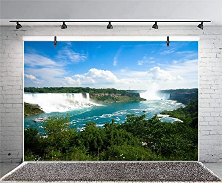 Niagara River Backdrop 10x6.5ft Polyester Photography Background Natural Landscape Niagara Blue Water Bridge Blue Sky Green Trees Scene