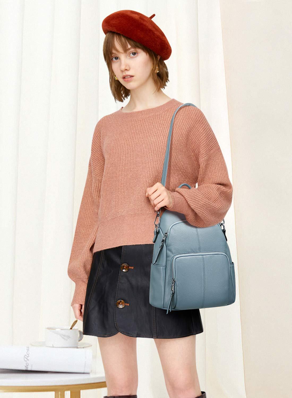 ALTOSY Ryggsäck i äkta läder för kvinnor stöldsäker dagväska mode axelväska Medium / Light Blue