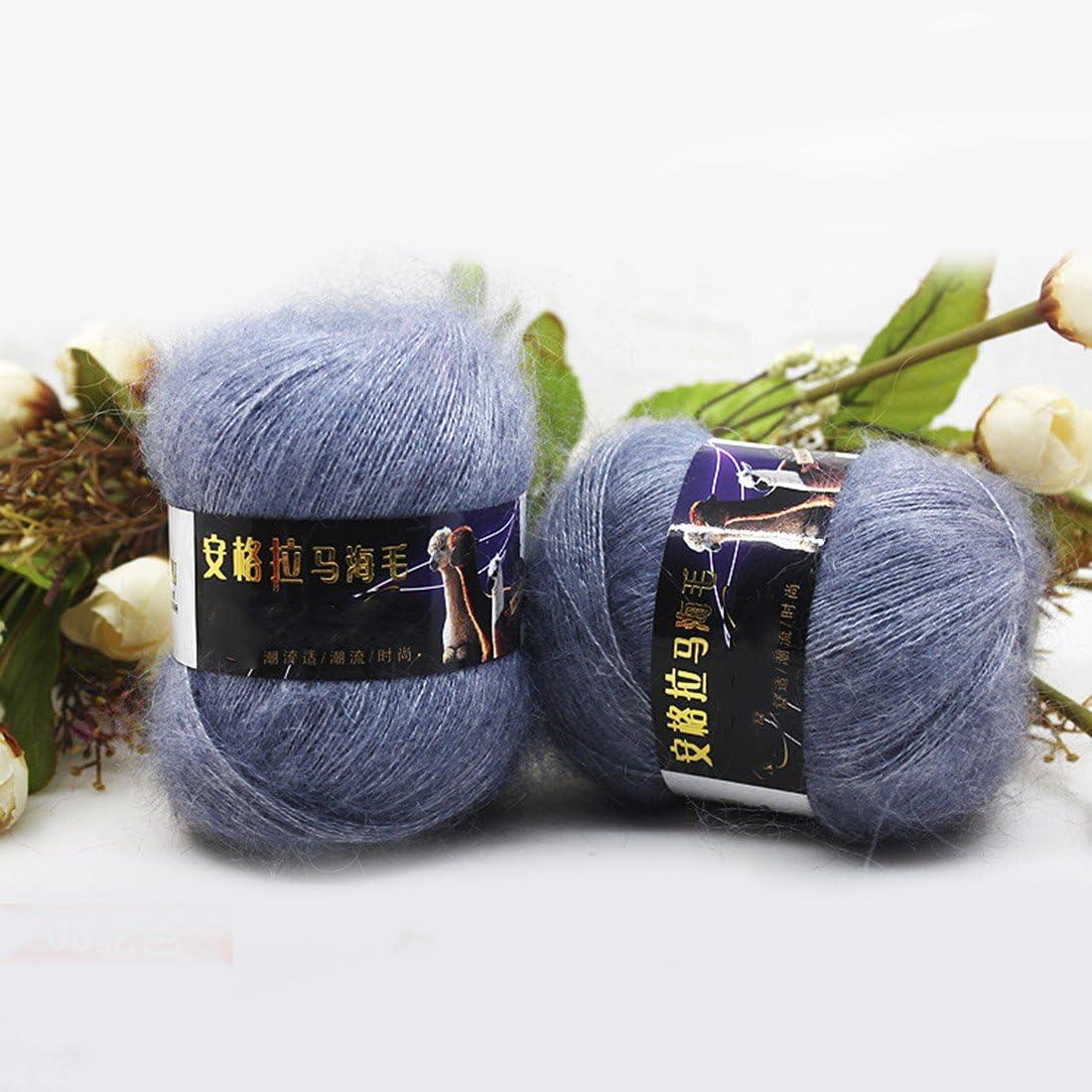 Fashion Soft Luxury Mohair Wool Knitting Yarn Sweater Scarf Knitting Wool-Dark Green