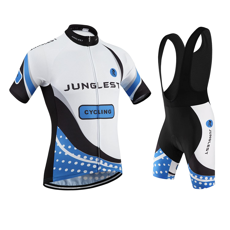 Cycling Jersey Set Wen半袖( S ~ 5 X L、オプション:よだれかけ、3dパッド) n118 B01BUHHJNM  種類: セット(ブラック前掛け) (2.8cm 3D pad)(Chest 45-47inchs)