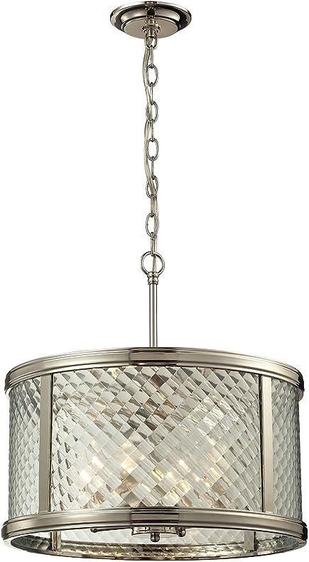 elk lighting chandler collection 4 light pendant polished nickel
