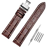 Genuine Calfskin Leather Watch Band Brown Replacement Watch Strap Deployment Buckle with Spring Bar Tool and Spring Bars Bonus 18mm/19mm/20mm/21mm/22mm/24mm