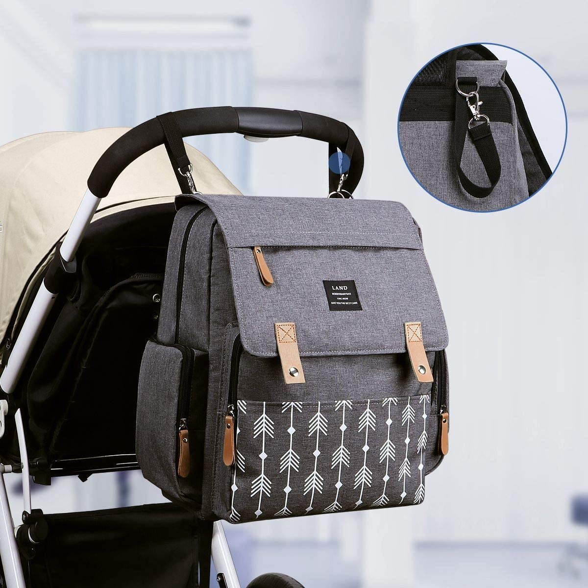 Multi-Function /& Waterproof Large Capacity EZGO Land 4 in 1 Diaper Bag Backpack Baby Nappy Changing Bag with 1 Changing Mat /& 2 Stroller Clips Hospital Maternity Bag Arrow Pattern for Mom /& Dad