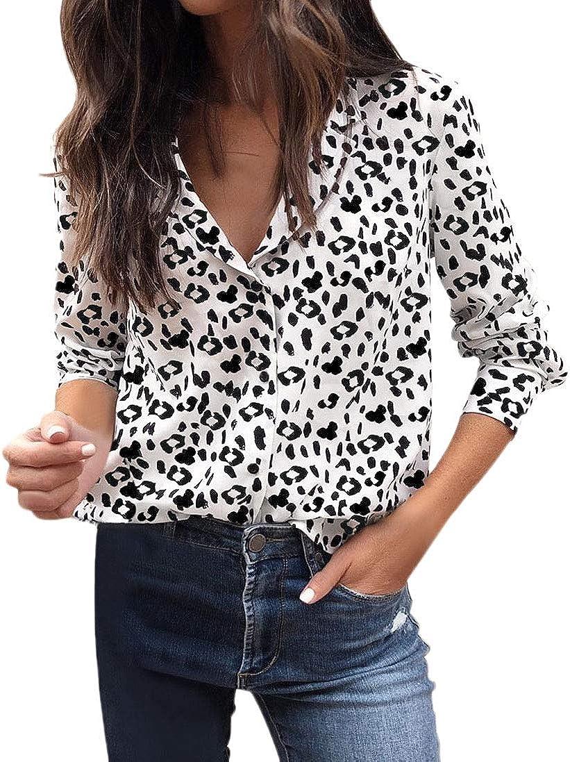 Mujer Blusas Elegantes Vintage Manga Larga V Cuello Otoño Primavera Especial Estilo Camisa Leopardo Impresión Camisas Tops Moda Cómodo: Amazon.es: Ropa y accesorios
