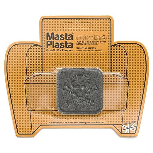 MastaPlasta Reparación Cuero - Parches Adhesivos Cuadro Pequeño Pirata(50x50mm) (Gris Oscuro)