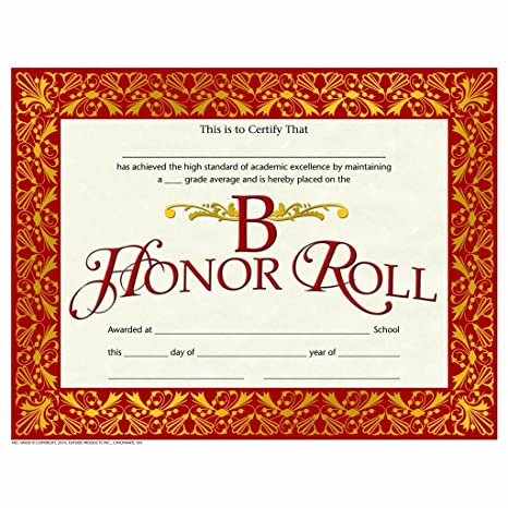 picture about Free Printable Honor Roll Certificates identify : B Honor Roll Certification - Purple Gold Artwork Deco
