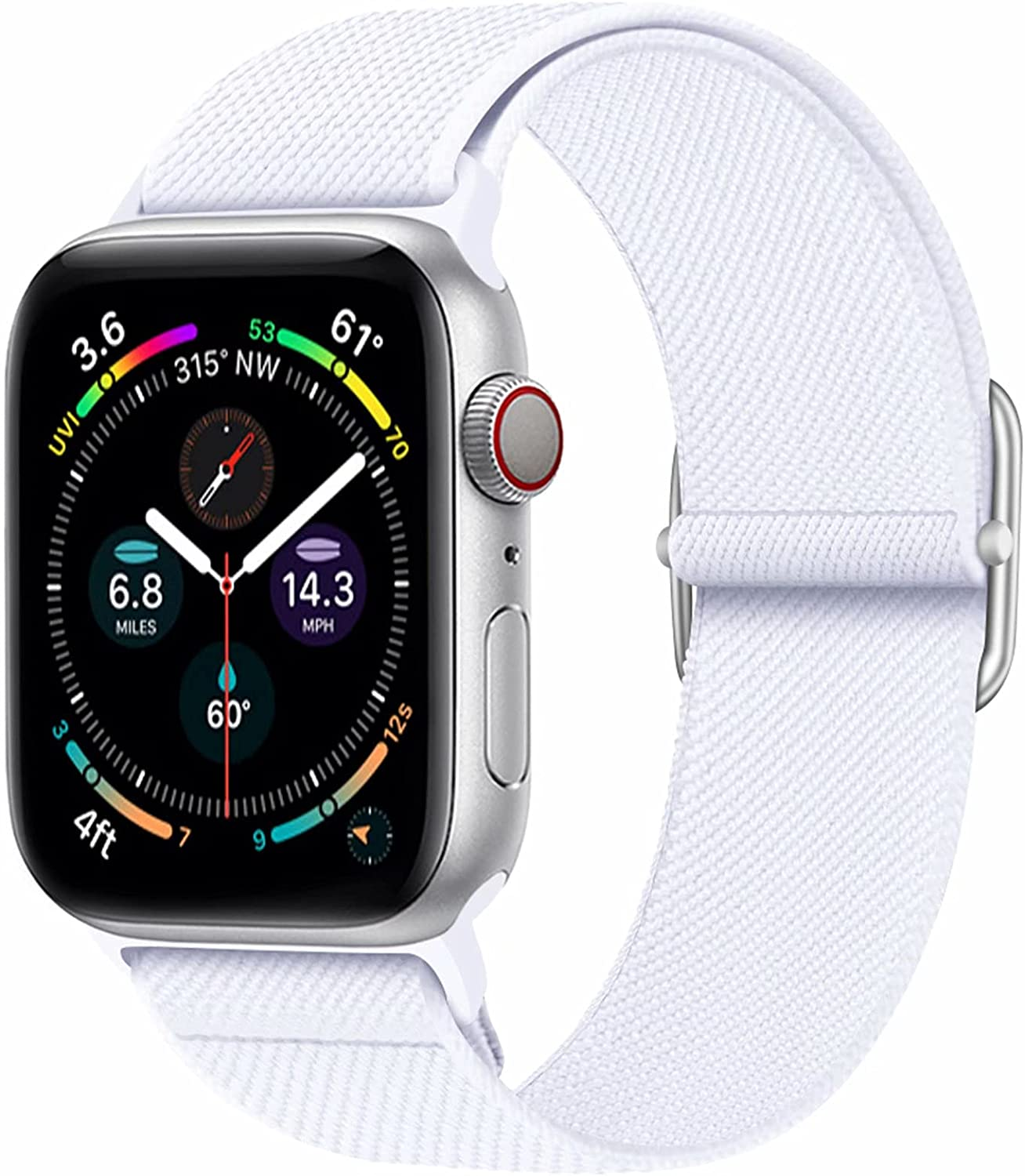 ENJINER Stretchy Nylon Solo Loop Band Compatible for Apple Watch Bands 38mm 40mm 42mm 44mm, Adjustable Braided Elastic Sport Strap Women Men Replacement Band for iWatch Series SE 6/5/4/3/2/1