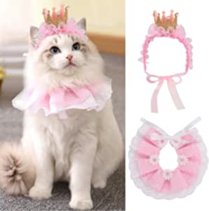 Legendog Cat Bandana for Cats, Princess Cat Costumes for Cats, Cute Lace Dog Bandanas and Cat Crown Accessories for Cats Small Dogs, Pink Outfit for Birthday Party (A-Pink)