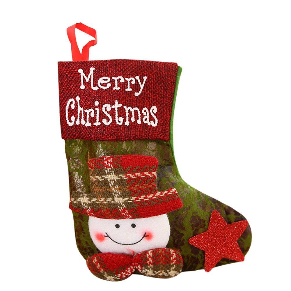 WeiYun Candy Beads Christmas Santa Claus Snowman Socks Decorations