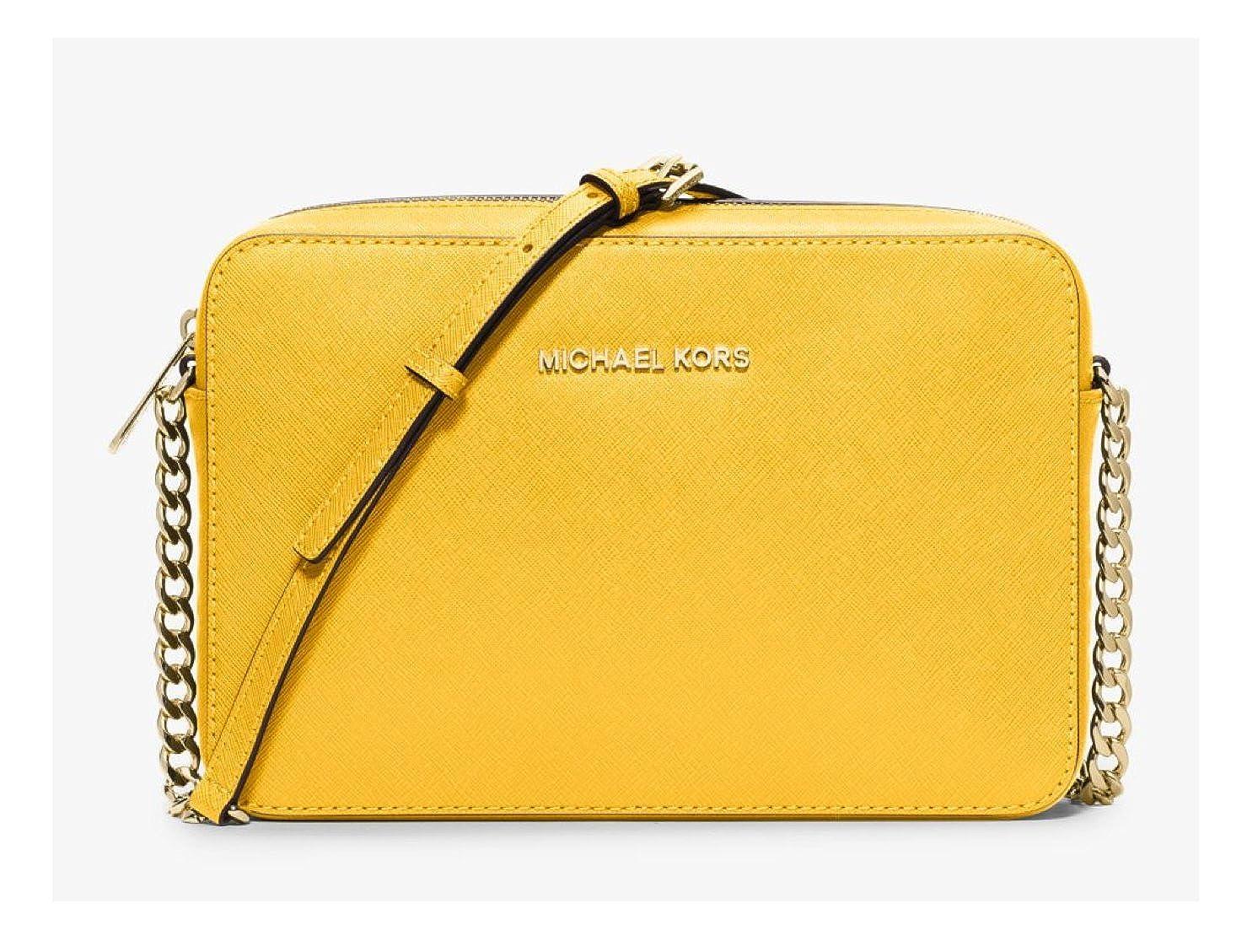 ff26db740b Michael Kors Jet Set Leather Large EW Crossbody Bag Yellow Citrus   Amazon.co.uk  Shoes   Bags