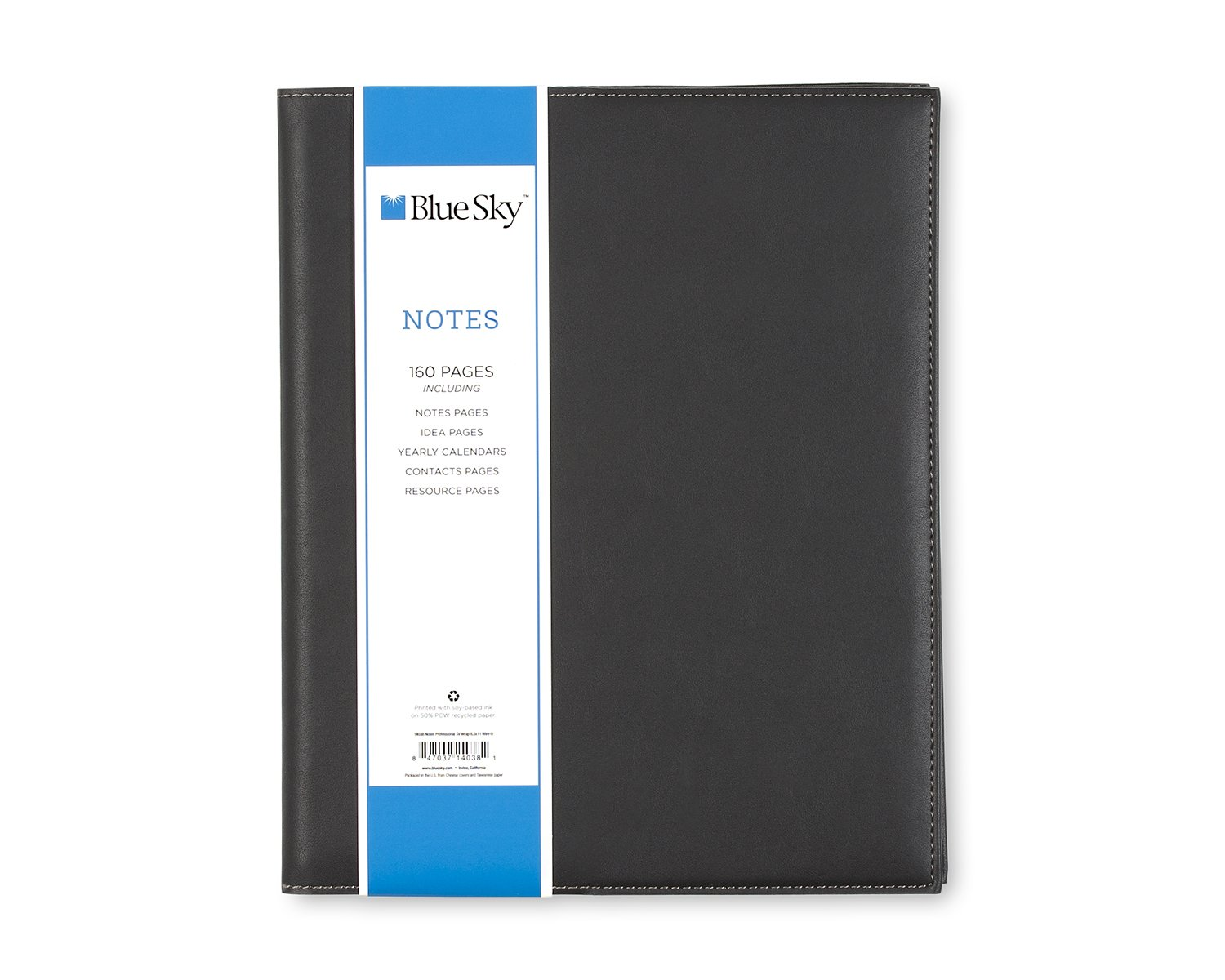 Blue Sky Professional Notebook, Leather-Like Textured Cover, Twin-Wire Binding, 8.5'' x 11'', Black by Blue Sky (Image #5)