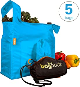 BagPodz Reusable Shopping Bags – Includes 5 Foldable Bags Inside a Compact Pod with Carry Clip – Super Strong Nylon Reusable Shopping Bags Hold up to 50lbs – Sturdy, Washable and Easy to Use