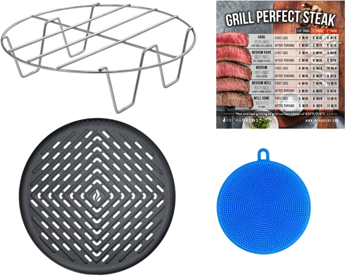 Air fryer Grill Pan Kit with Rack & Steak Doneness Guide Magnet Compatible with GoWise USA, Philips, Chefman, Power Airfryer, Farberware, Tidylife, Maxi-Matic & more + Silicone Scrubber - Large