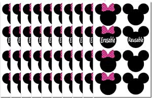 2.38 x 2 Inch Pink Minnie Mouse Head Stickers Vinyl PVC Mickey Chalk Chalkboard Labels Children's Birthday Party Decorations Supplies for Minnie Mouse Themed Birthday Party 72 Pcs