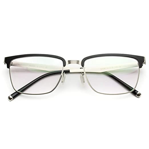 0f4be0b3551a Amazon.com: Small Square Rectangular Nerd Glasses Thin Frame Clear Lens Optical  Quality (Metal Silver and Black Frame, 52): Clothing
