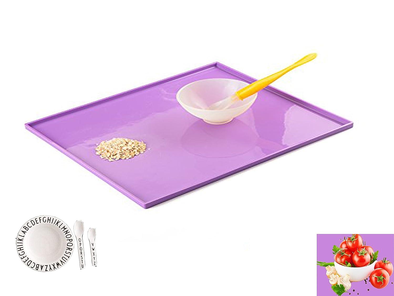 Utilidad de la cocina Tenta silicona niños/bebé mesa mantel individual, mantel individual, diseño de pared de borde, plegable de silicona, ...