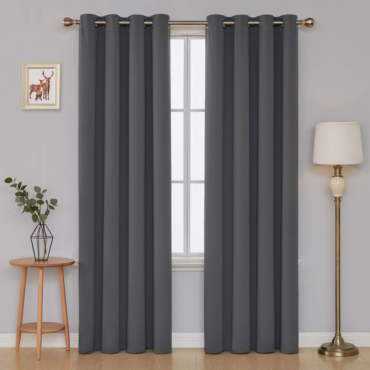 Deconovo Super Soft Room Darkening Nursery Curtains Eyelet Blackout Curtains for Kids with Two FREE Tiebacks 52 x 54 Drop Inch Grey Two Panels