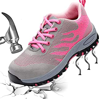 BMTH Mens Safety Shoes Womens Work Shoes,Unisex Steel Toe Cap Trainers Non-Slip Working Boots Safety Sneakers Pink