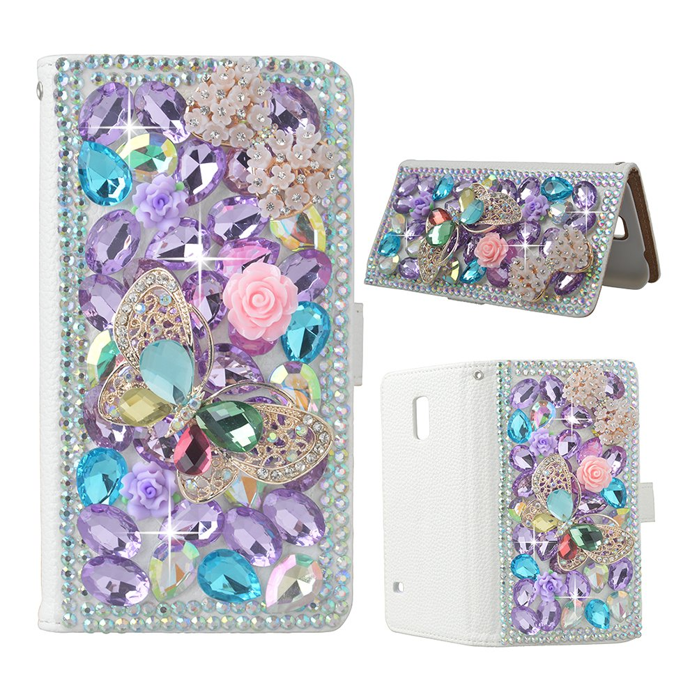 Evtech(tm) Butterfly Floral Bling Crystal Glitter Book Style Folio PU Leather Wallet Case with Handbag Phone Holder & Card Slots