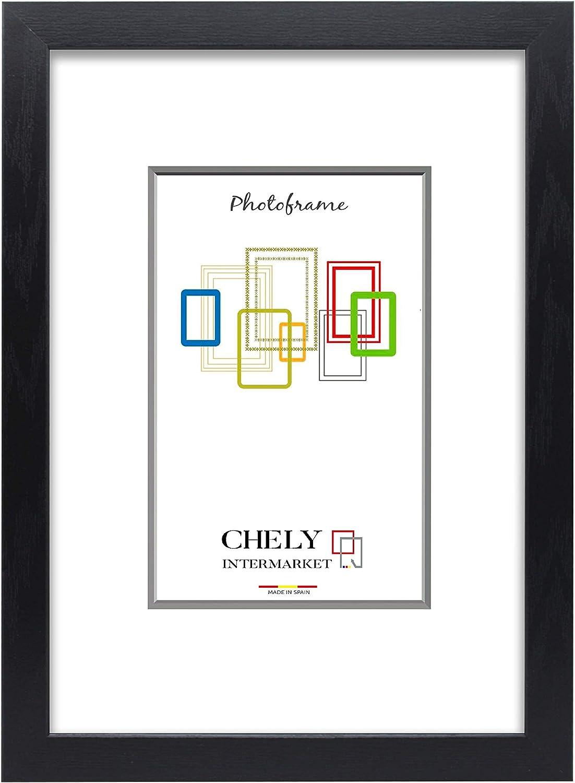 Chely Intermarket, Marco de Fotos Grandes 40x50 cm (Negro) MOD-254, Hecho Madera sólida, Ancho de Bastidor 1,20 cm con Acabado Elegante | Marco para títulos y certificados (254-40x50-0,85)