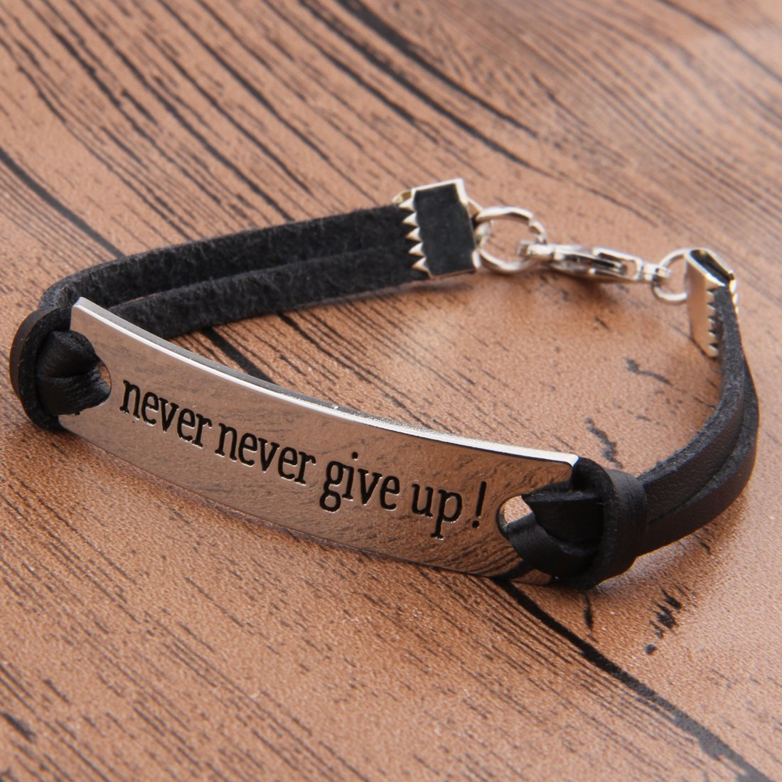 ZUOBAO Silver Stamped Words Never Never Give Up Inspirational Wrap Bracelet Gift for Women Men NGUP-1