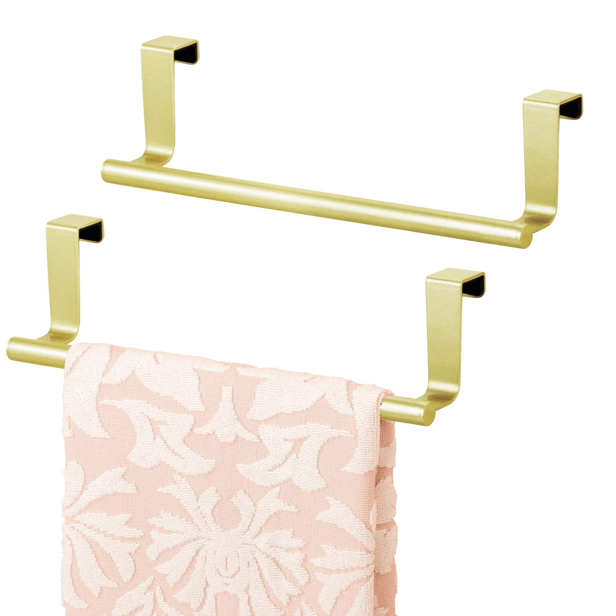 mDesign Decorative Kitchen Over Cabinet Stainless Steel Towel Bar - Hang on Inside or Outside of Doors, Storage and Display Rack for Hand, Dish, and Tea Towels - 9'' Wide, Pack of 2, Gold Brass