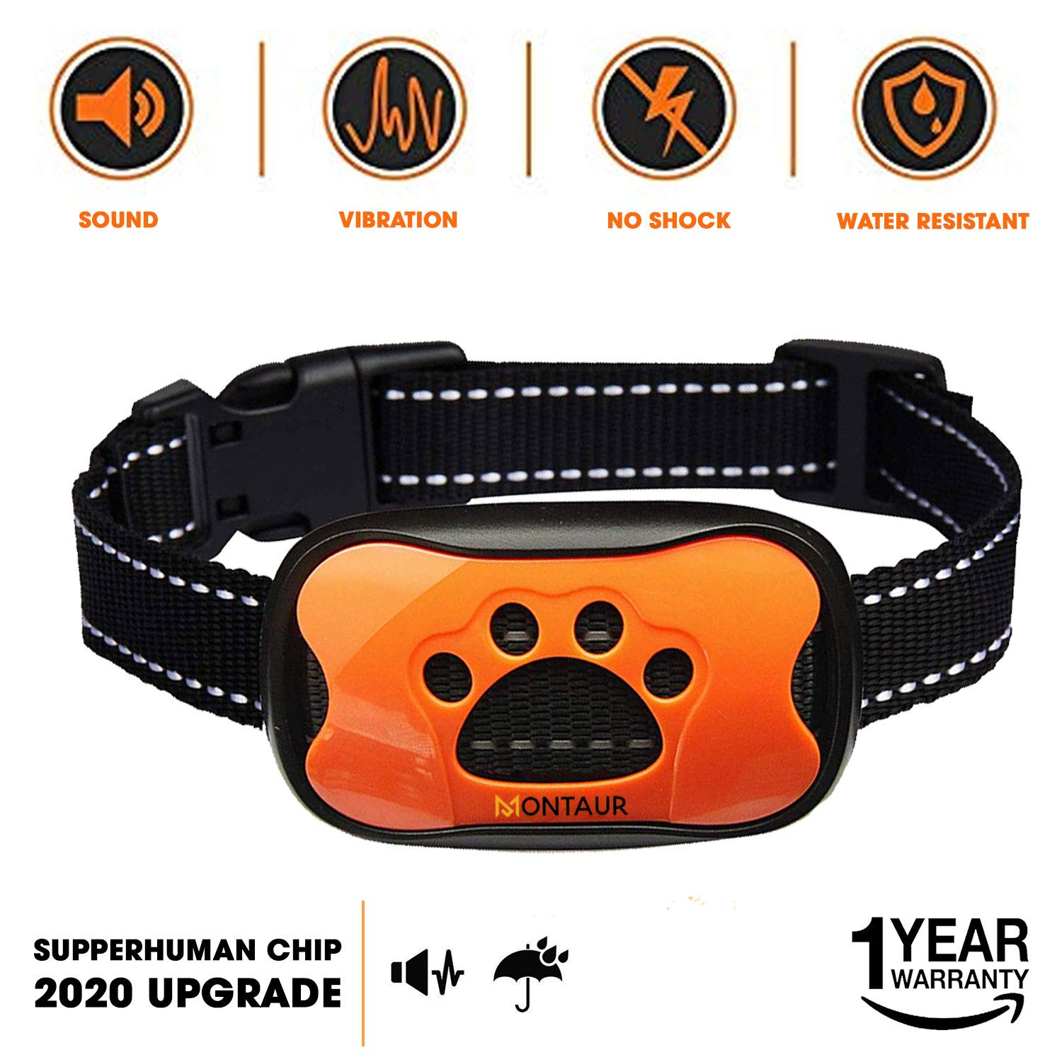MONTAUR Dog Bark Collar - no Shock Vibration and Sound Stop Barking Collar for Dogs - 7 Level Sensitivities Anti Bark Collar - Humane Dog Barking Control Collar - 100% Waterproof no Bark Collar by MONTAUR