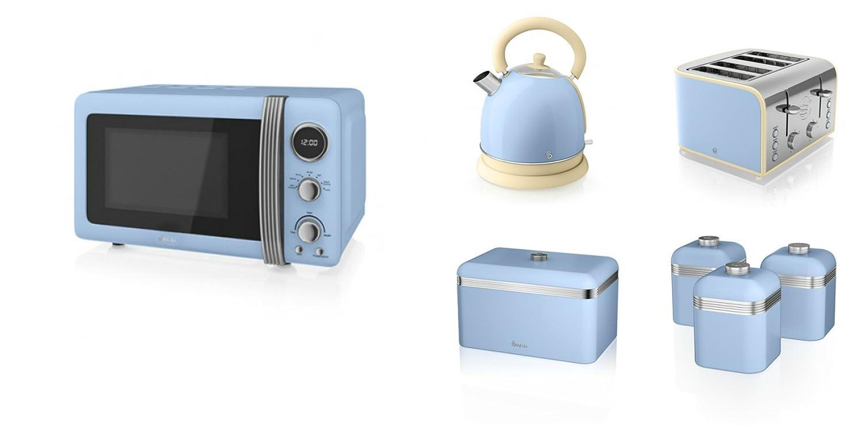 Swan Kitchen Appliance Retro Set - BLUE Microwave, 1.8L Dome Kettle ...
