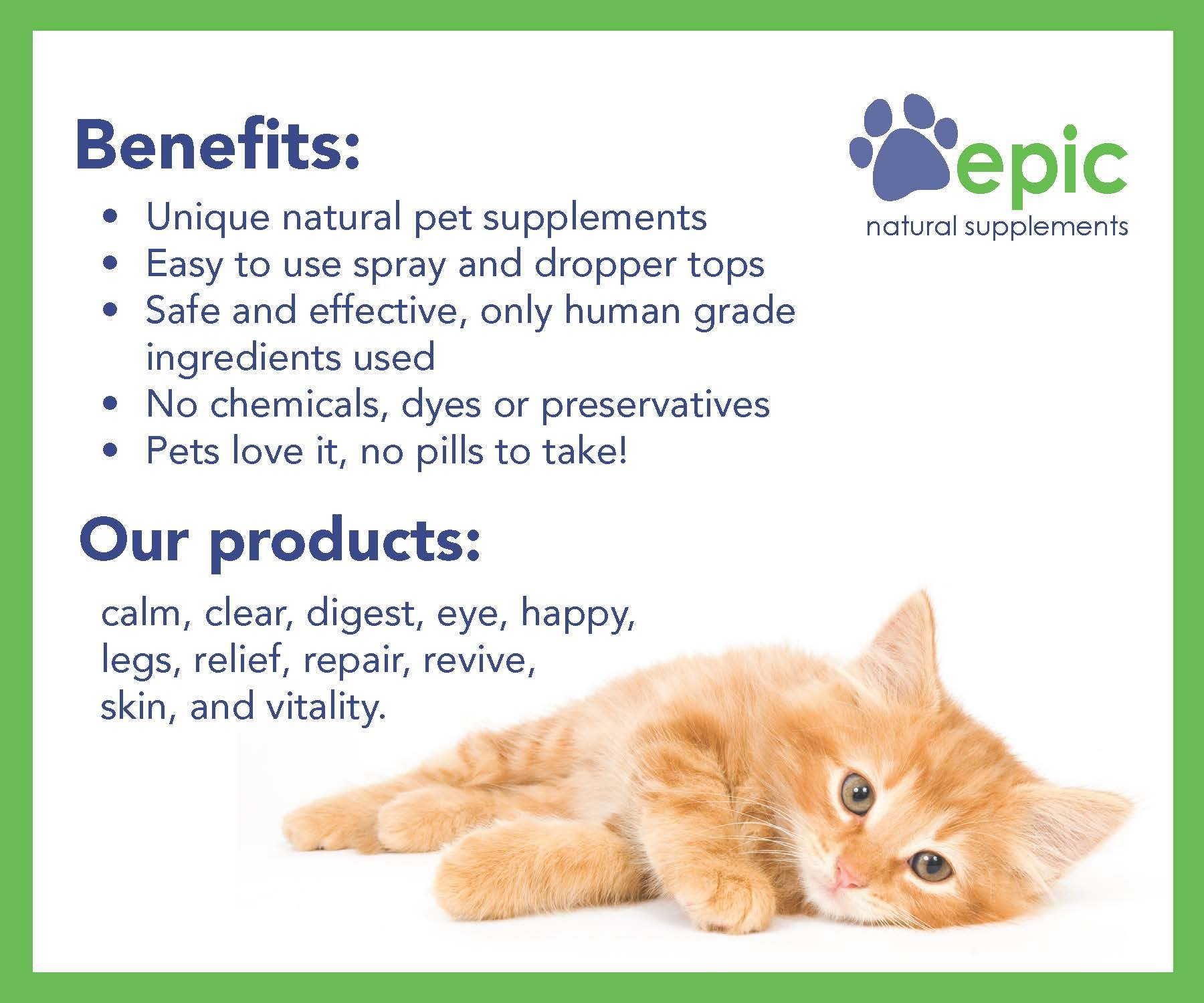 Epic Pet Health Calm - Natural Odorless Calming Sprays Made for Dogs and Cats That Promotes Calm and Relaxed Behavior. Made in USA (Dropper, 1 Ounce) by Epic Pet Health (Image #3)