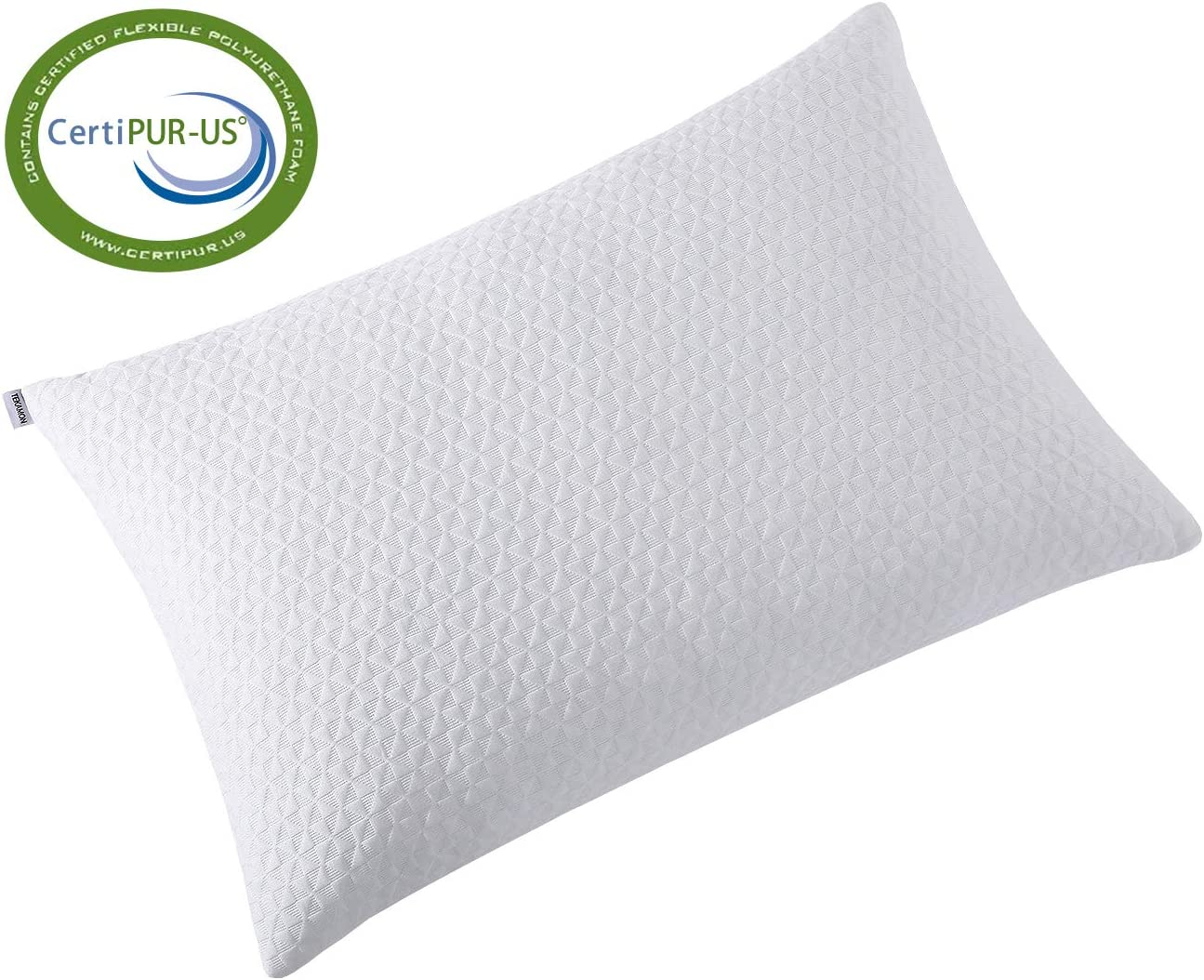 TEKAMON Shredded Memory Foam Bed Pillows for Sleeping with Washable & Removable Bamboo Cooling Hypoallergenic Sleep Pillow for Back, Stomach, Side Sleepers - CertiPUR-US Certified
