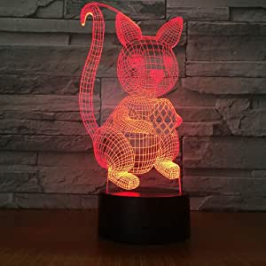 Squirrel with A Pine Cone 3D Night Light, 7 Colors Changing Optical Illusion Touch Table Desk Lamp, Perfect Gifts for Kids' Home Decoration LED Lamp